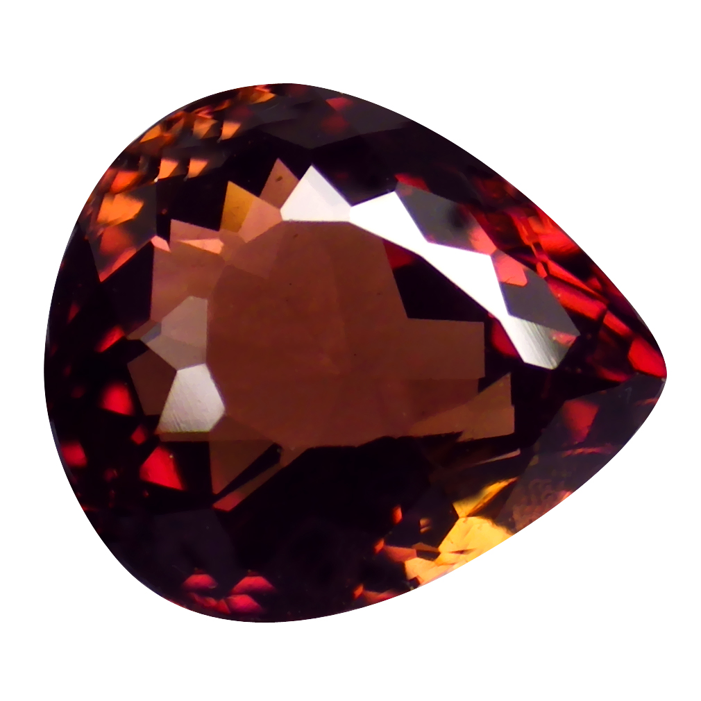 1.94 ct GOOD-LOOKING PEAR CUT (8 X 7 MM) MOZAMBIQUE ORANGE PINK TOURMALINE NATURAL GEMSTONE