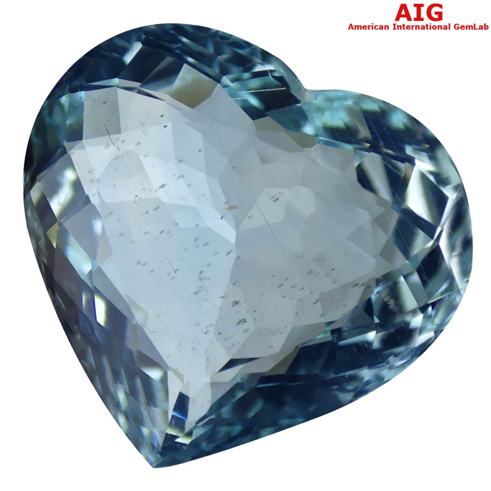 13.39 ct AIG CERTIFIED INCOMPARABLE HEART CUT (17 X 18 MM) UNHEATED / UNTREATED SKY BLUE AQUAMARINE LOOSE STONE