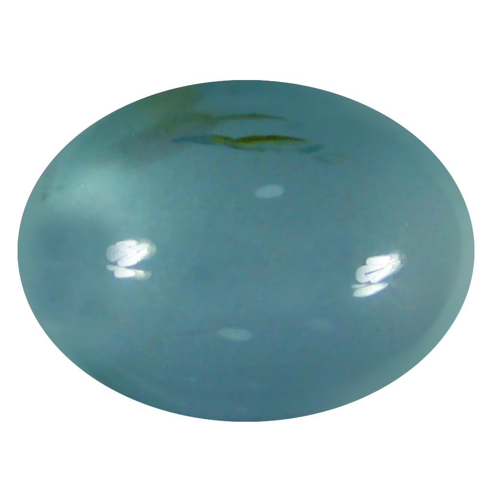 5.88 ct Fair Oval Cabochon Shape (13 x 10 mm) Sky Blue Aquamarine Genuine Stone