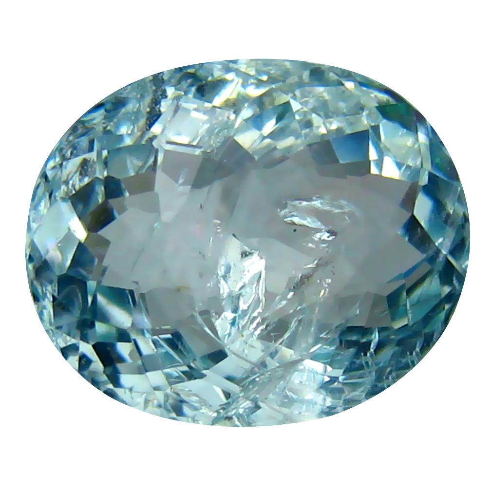 5.32 ct Oval Shape (13 x 11 mm) Brazilian Blue Aquamarine Loose Gemstone