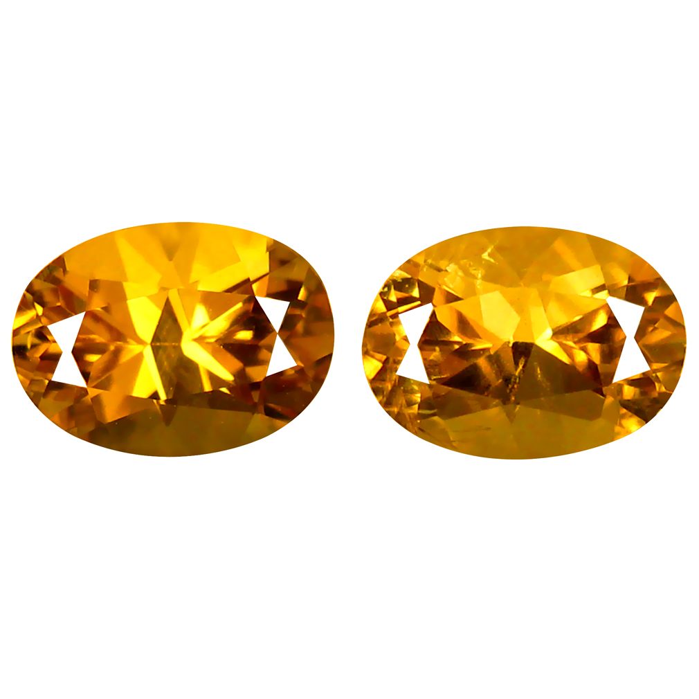 1.52 ct (2 pcs) Impressive Oval Cut (7 x 5 mm) Golden Yellow Heliodor Beryl Gemstone