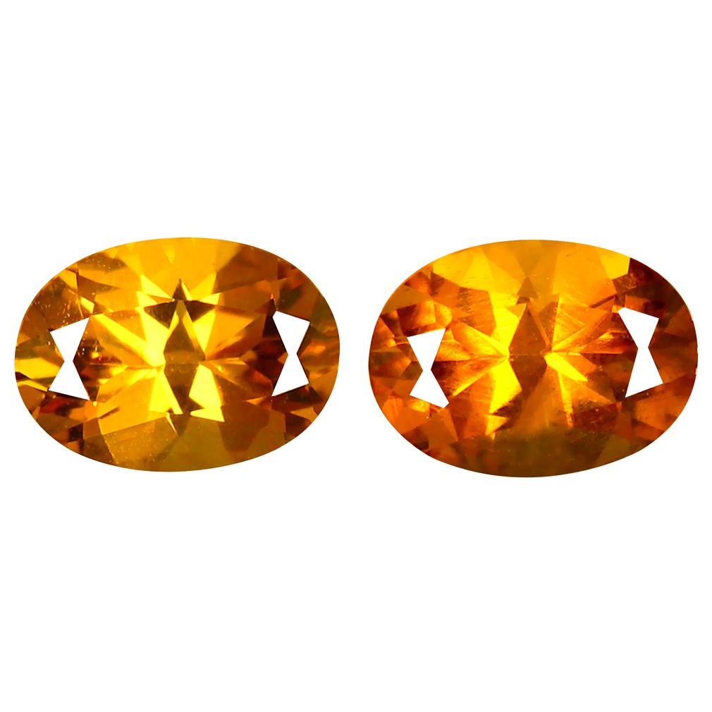1.77 ct (2 pcs) Amazing Oval Cut (8 x 5 mm) Golden Yellow Heliodor Beryl Gemstone