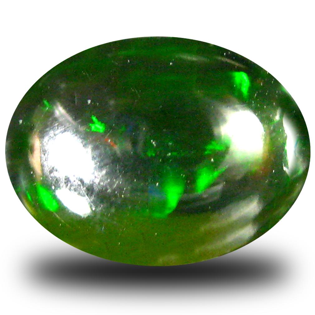 0.76 ct Fantastic Oval Cabochon (9 x 7 mm) Flashing 360 Degree Multicolor Black Opal Gemstone