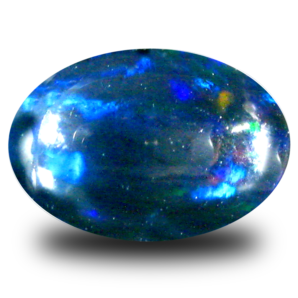 0.67 ct Eye-catching Oval Cabochon Cut (8 x 5 mm) Flashing 360 Degree Multicolor Black Opal