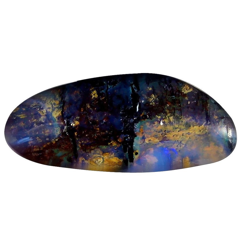 6.14 ct Mesmerizing Fancy Shape (21 x 9 mm) Play of Colors Australian Koroit Boulder Opal Natural Loose Gemstone