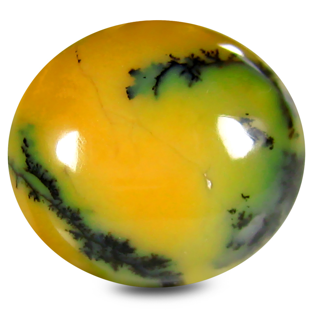 8.00 ct Significant Oval Cabochon Shape (16 x 14 mm) Yellow Dendritic Opal Genuine Stone