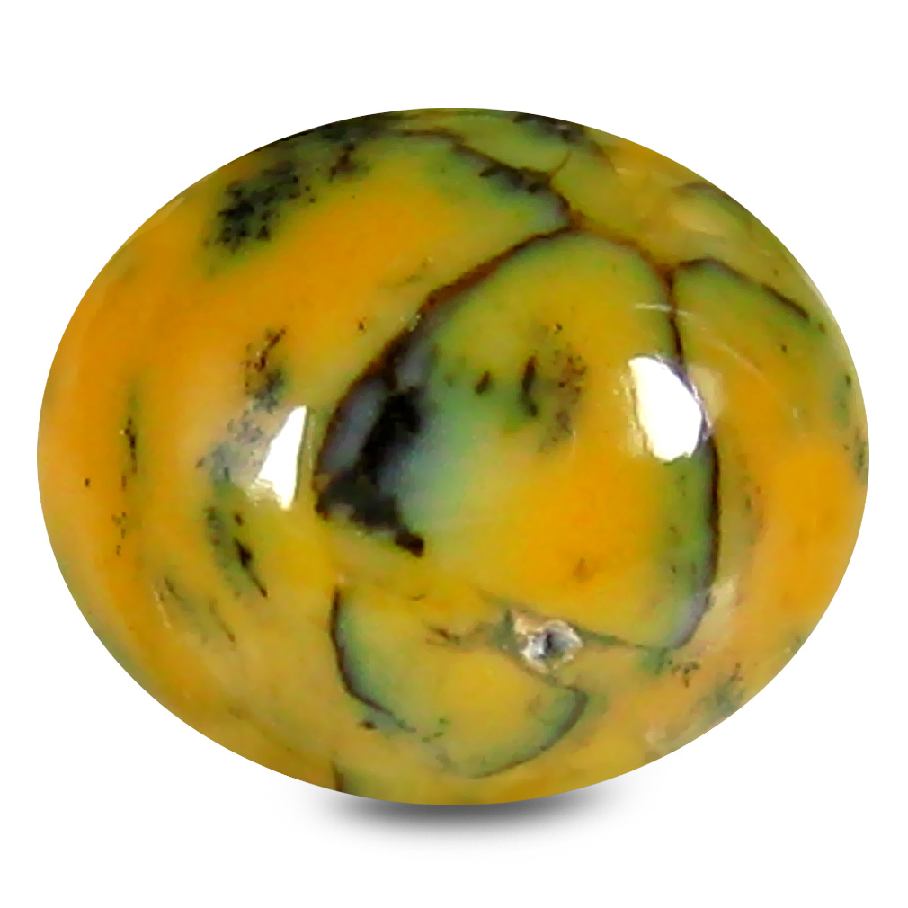 2.23 ct Magnificent fire Oval Cabochon Shape (10 x 8 mm) Yellow Dendritic Opal Genuine Stone