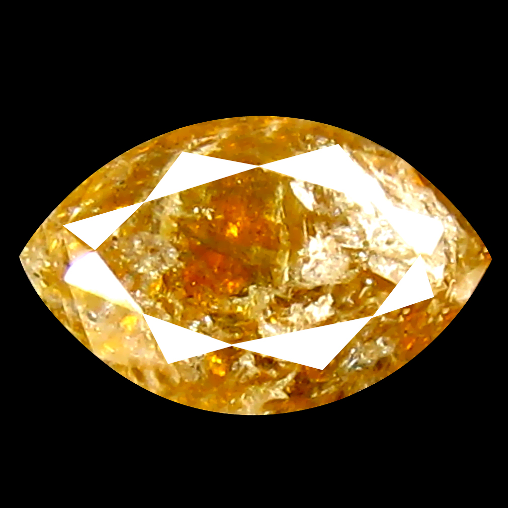 0.34 ct Terrific Marquise Shape (5 x 3 mm) Orange Yellow Diamond Genuine Stone
