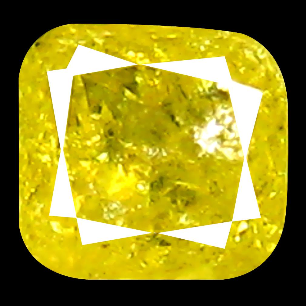 0.19 ct Excellent Cushion Shape (3 x 3 mm) Fancy Yellow Diamond Genuine Stone