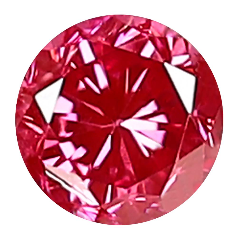 0.16 ct FIVE-STAR ROUND CUT (3 X 3 MM) SI CLARITY PURPLISH PINK DIAMOND LOOSE STONE