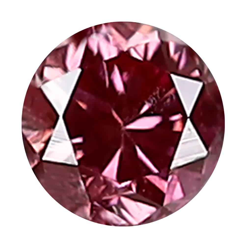 0.12 ct INCREDIBLE ROUND CUT (3 X 3 MM) SI CLARITY PURPLISH PINK DIAMOND LOOSE STONE