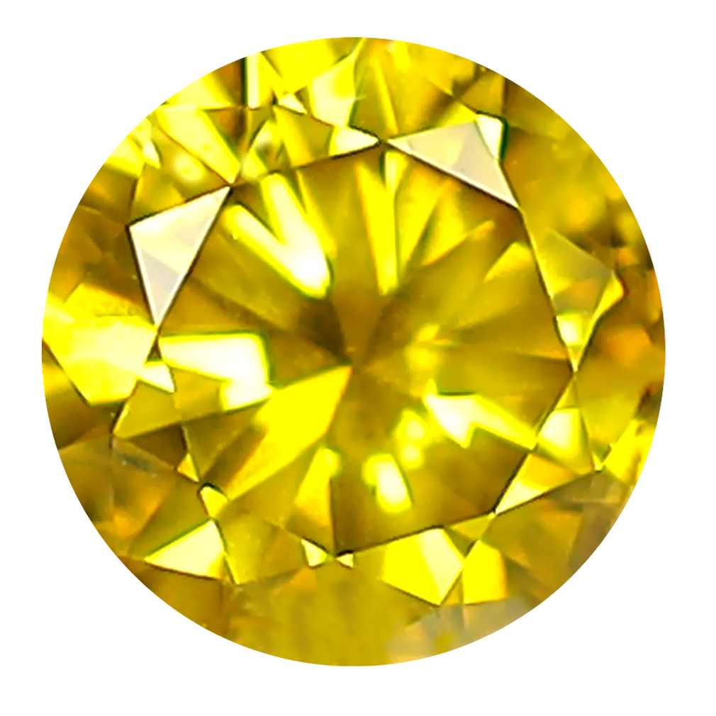 0.45 ct GRAND LOOKING ROUND CUT (5 X 5 MM) SI CLARITY FANCY VIVID YELLOW YELLOW DIAMOND LOOSE STONE