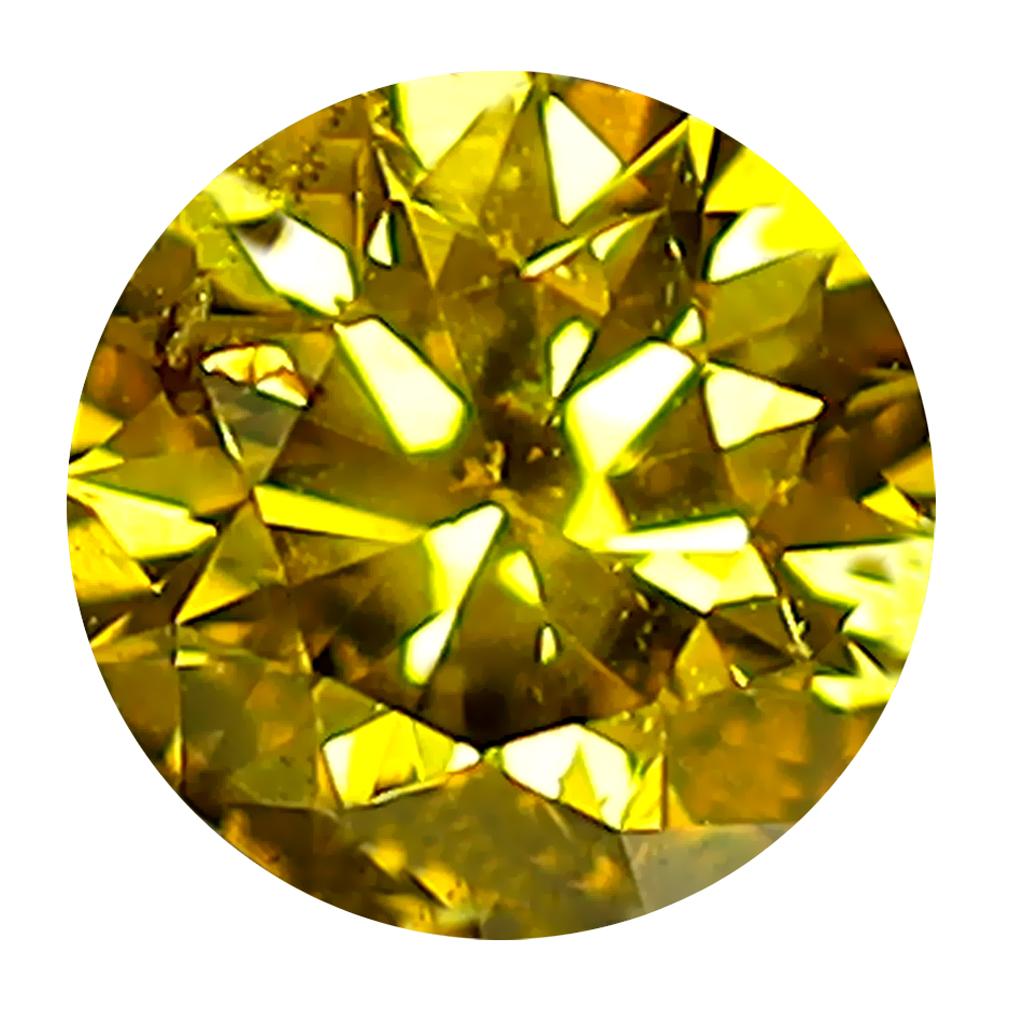 0.45 ct WONDERFUL ROUND CUT (5 X 5 MM) SI CLARITY FANCY VIVID YELLOW YELLOW DIAMOND LOOSE STONE