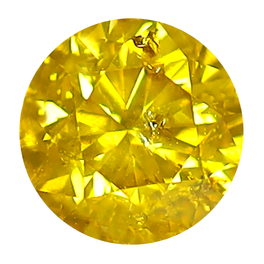 0.61 ct MAGNIFICENT FIRE ROUND CUT (5 X 5 MM) SI CLARITY FANCY VIVID YELLOW YELLOW DIAMOND LOOSE STONE