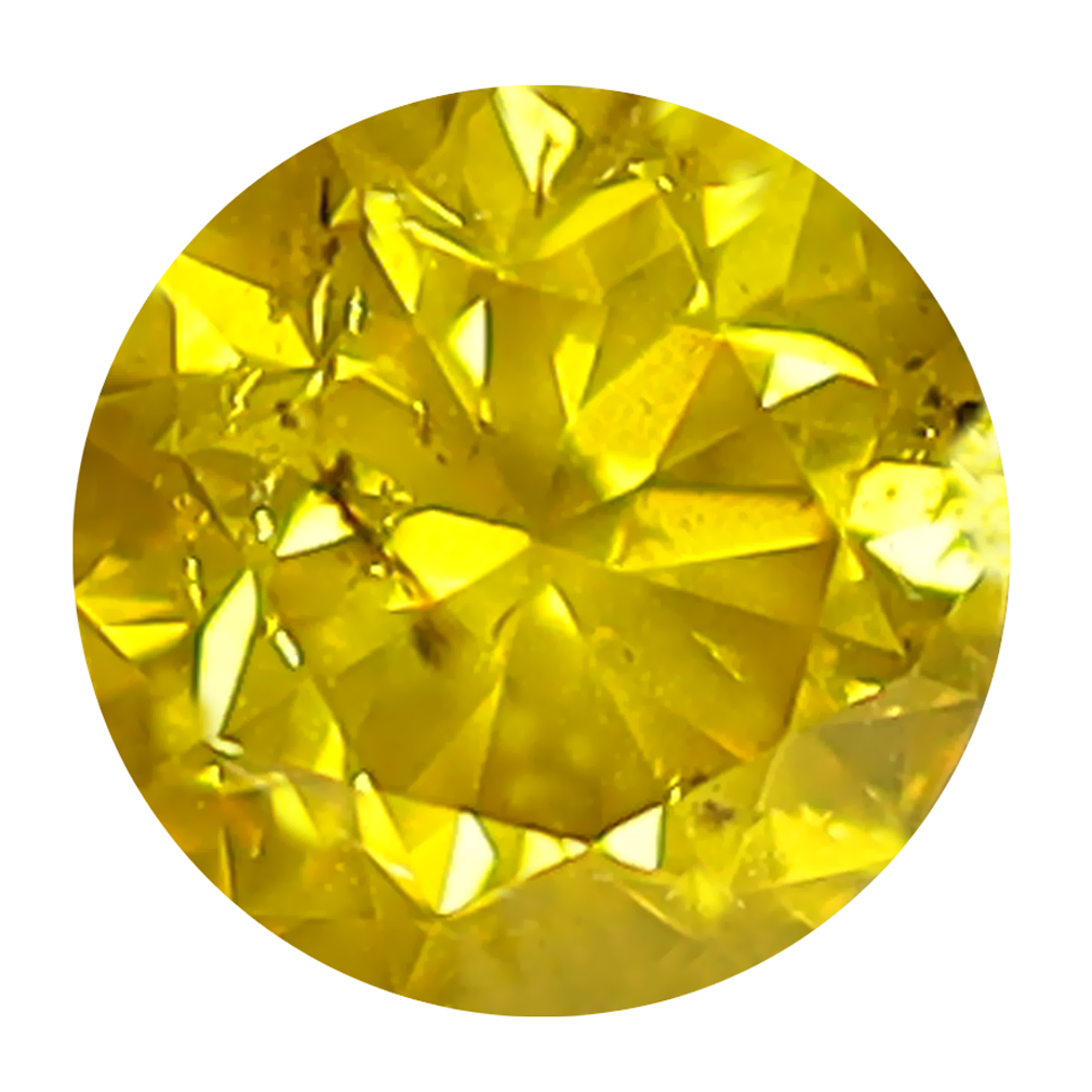 0.43 ct EXCELLENT ROUND CUT (5 X 5 MM) SI CLARITY FANCY VIVID YELLOW YELLOW DIAMOND LOOSE STONE
