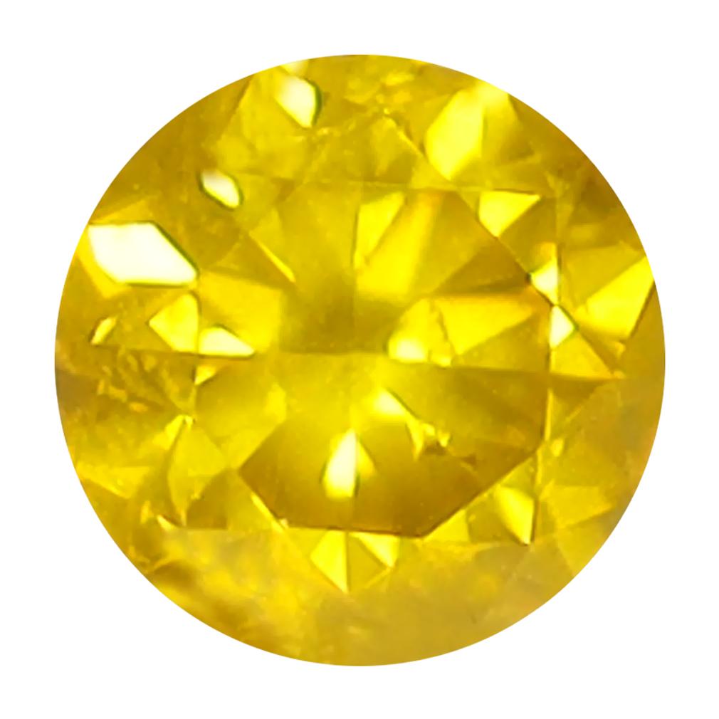 0.31 ct BEAUTIFUL ROUND CUT (4 X 4 MM) SI CLARITY FANCY VIVID YELLOW YELLOW DIAMOND LOOSE STONE