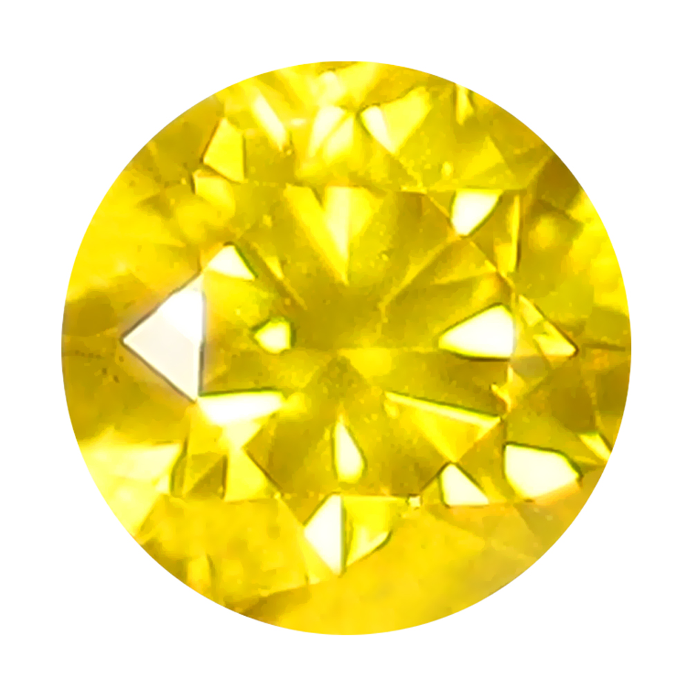0.29 ct ATTRACTIVE ROUND CUT (4 X 4 MM) SI CLARITY FANCY VIVID YELLOW YELLOW DIAMOND LOOSE STONE
