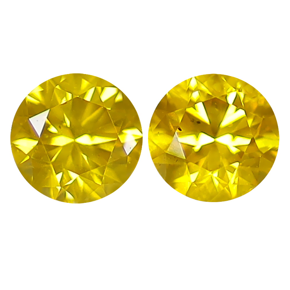 0.80 ct (2PCS) MATCHING PAIR SUPER-EXCELLENT ROUND CUT (5 X 5 MM) FANCY VIVID YELLOW YELLOW DIAMOND GENUINE STONE