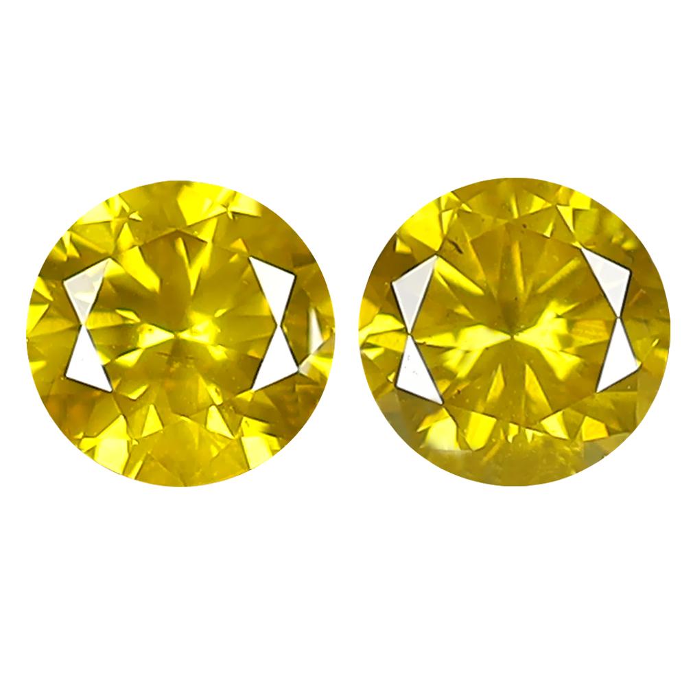 0.61 ct (2PCS) MATCHING PAIR GORGEOUS ROUND CUT (4 X 4 MM) FANCY VIVID YELLOW YELLOW DIAMOND GENUINE STONE