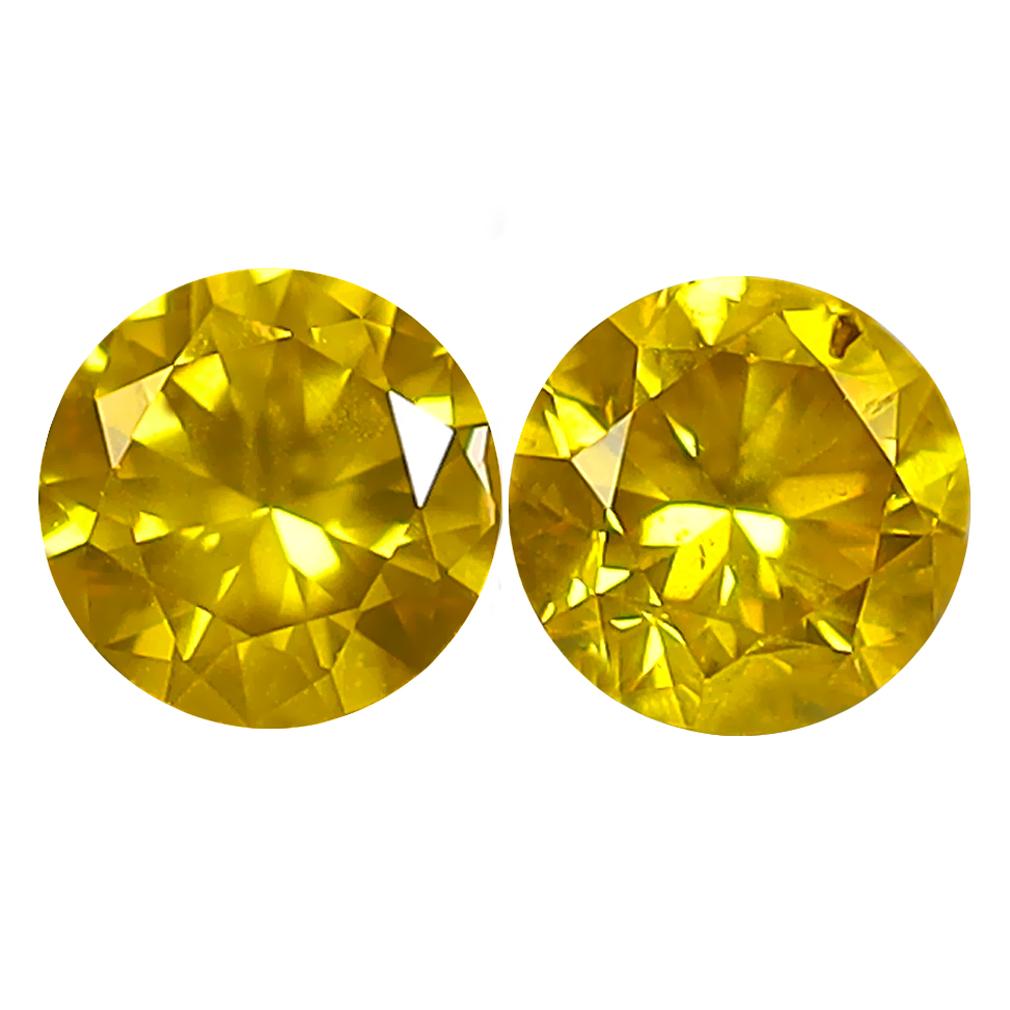 0.67 ct (2PCS) MATCHING PAIR MIND-BOGGLING ROUND CUT (4 X 4 MM) FANCY VIVID YELLOW YELLOW DIAMOND GENUINE STONE
