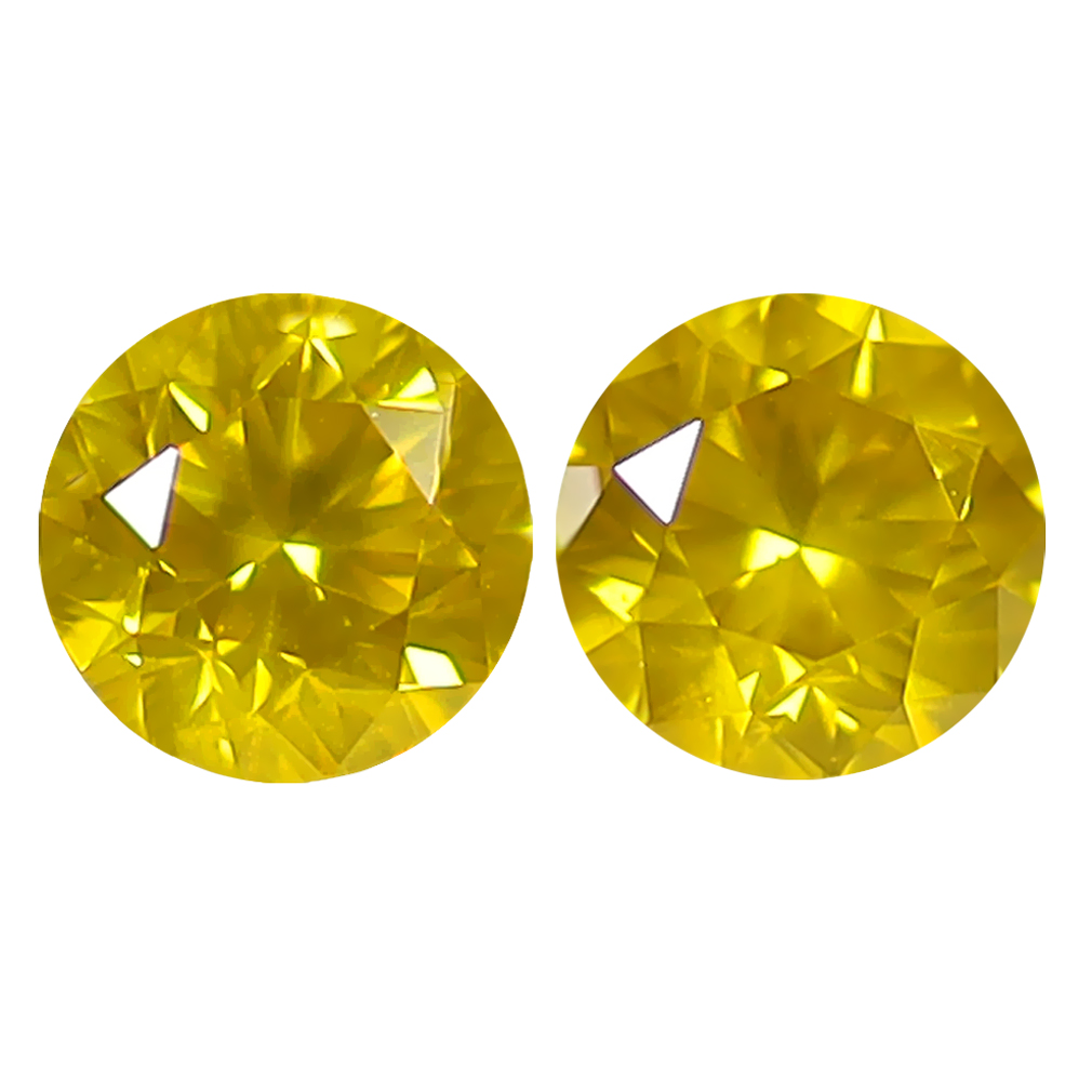 0.78 ct (2PCS) MATCHING PAIR TERRIFIC ROUND CUT (4 X 4 MM) FANCY VIVID YELLOW YELLOW DIAMOND GENUINE STONE