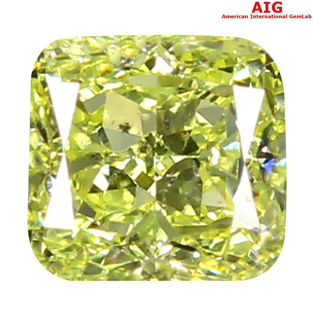 0.31 ct AIG CERTIFIED FIVE-STAR VS1 CLARITY CUSHION CUT (4 X 3 MM) FANCY GREENISH YELLOW DIAMOND STONE