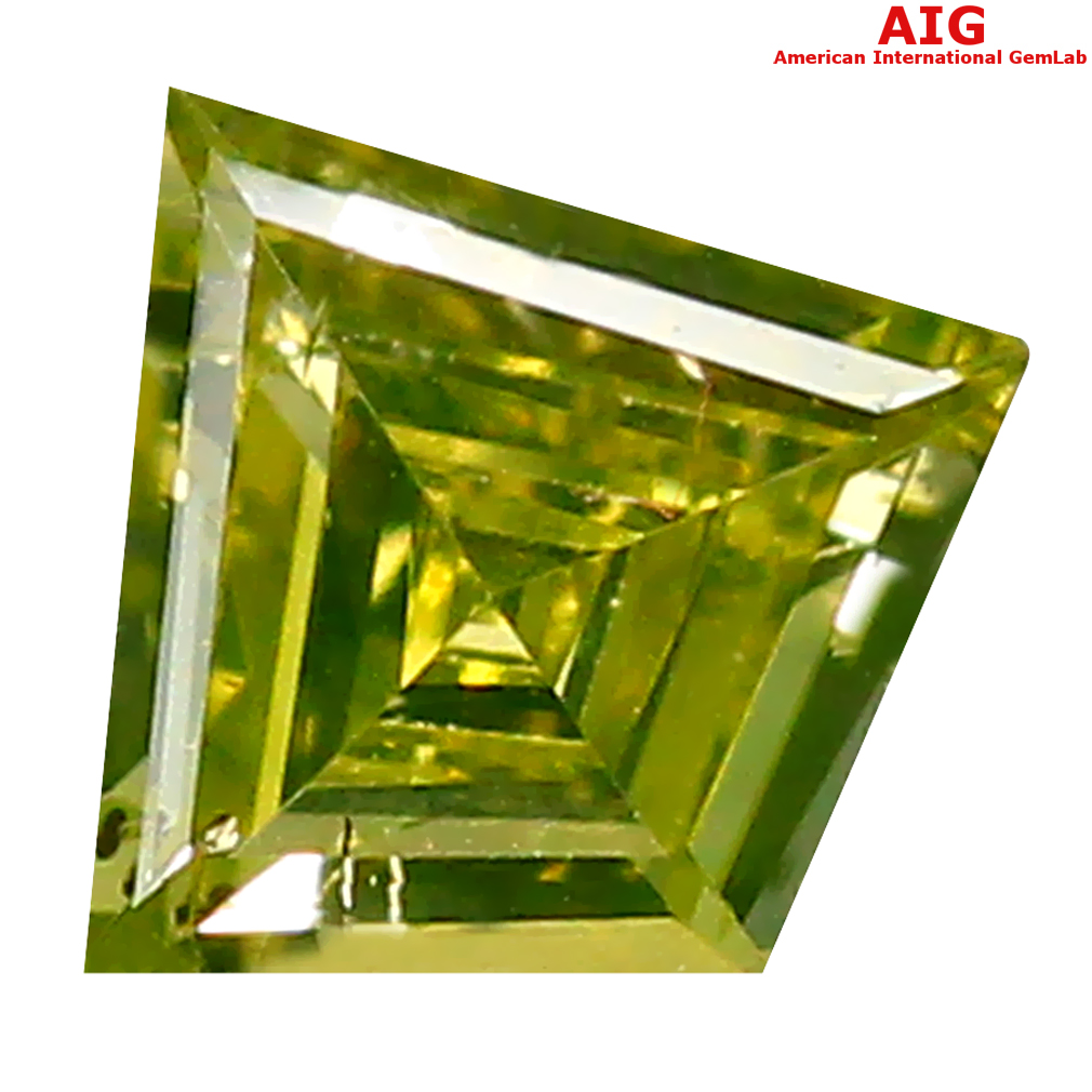 0.16 ct AIG CERTIFIED FIVE-STAR VS1 CLARITY FANCY CUT (4 X 4 MM) FANCY GREENISH YELLOW DIAMOND STONE