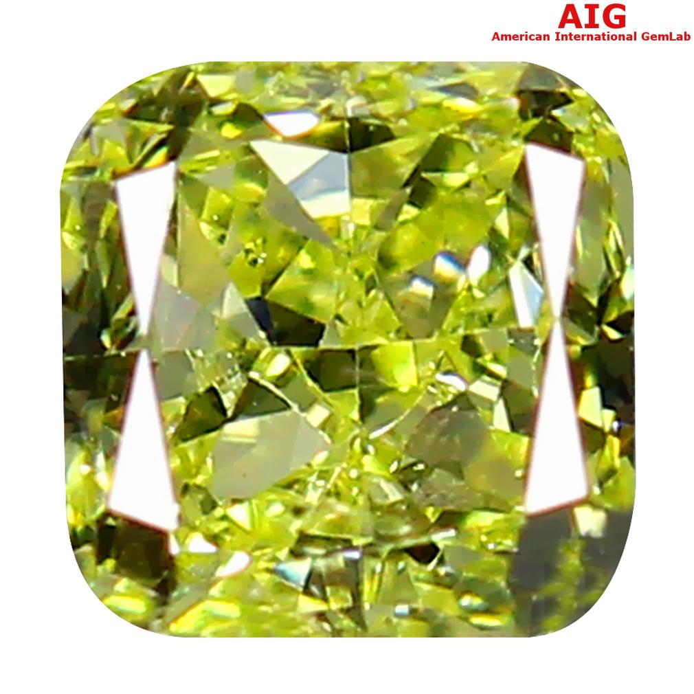 0.30 ct AIG CERTIFIED STUNNING SI1 CLARITY CUSHION CUT (4 X 4 MM) FANCY GREENISH YELLOW DIAMOND STONE