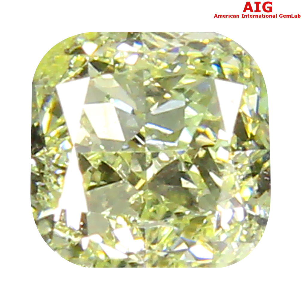 0.33 ct AIG CERTIFIED EXCELLENT SI2 CLARITY CUSHION CUT (4 X 4 MM) FANCY LIGHT YELLOW DIAMOND STONE