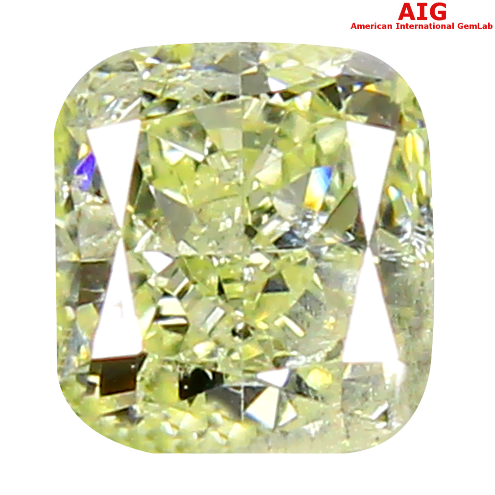 0.30 ct AIG CERTIFIED FANTASTIC SI2 CLARITY CUSHION CUT (4 X 4 MM) FANCY LIGHT YELLOW DIAMOND STONE