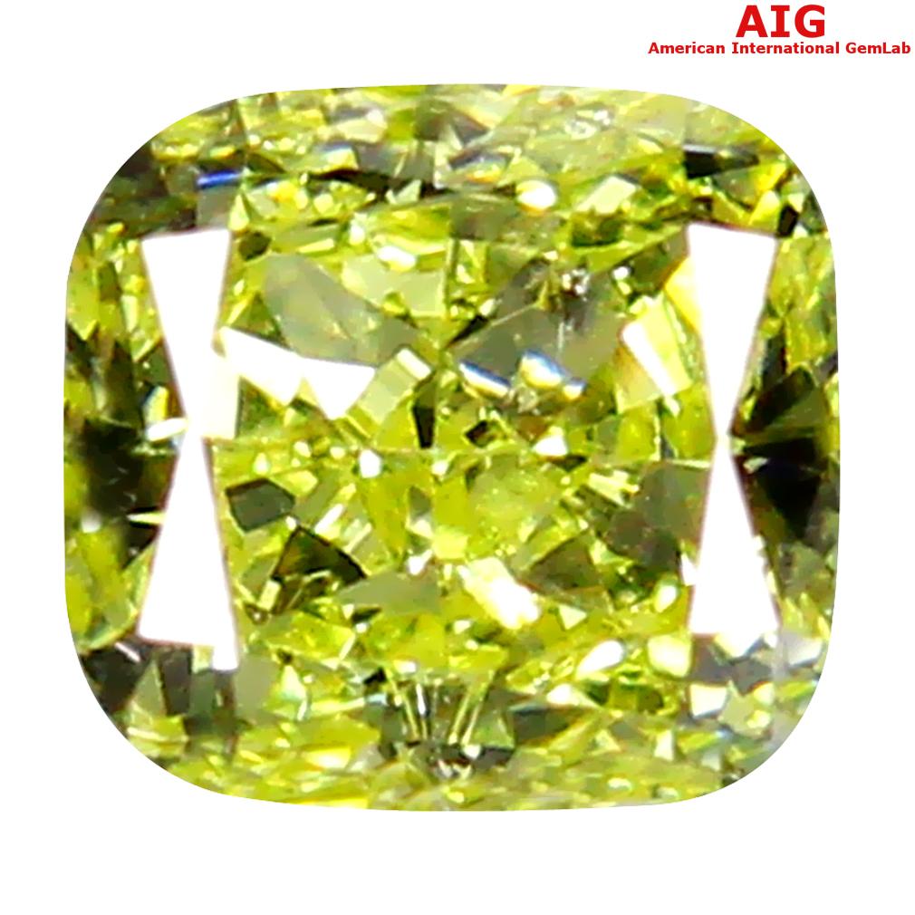 0.30 ct AIG CERTIFIED PLEASANT SI2 CLARITY CUSHION CUT (4 X 4 MM) FANCY YELLOW DIAMOND STONE