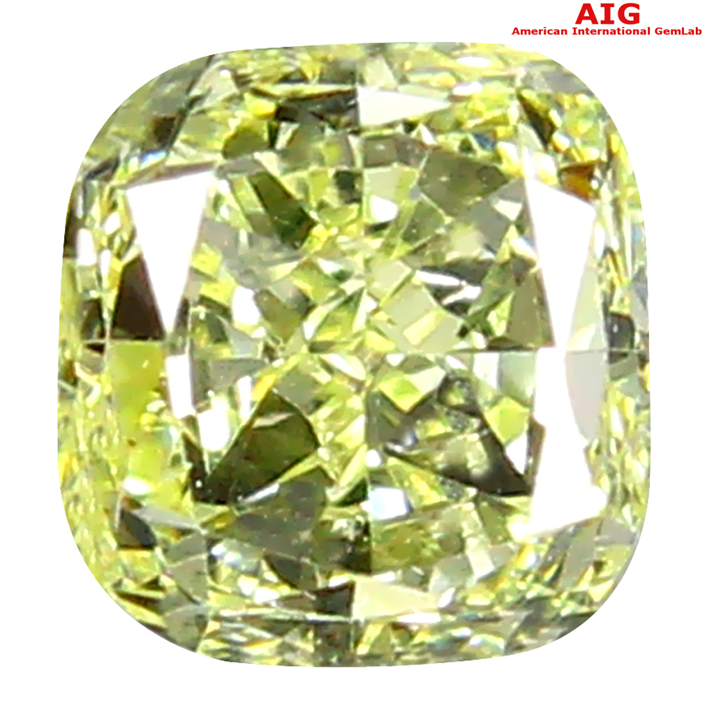 0.29 ct AIG CERTIFIED ROMANTIC CUSHION SHAPE (4 X 3 MM) FANCY YELLOW DIAMOND NATURAL GEMSTONE