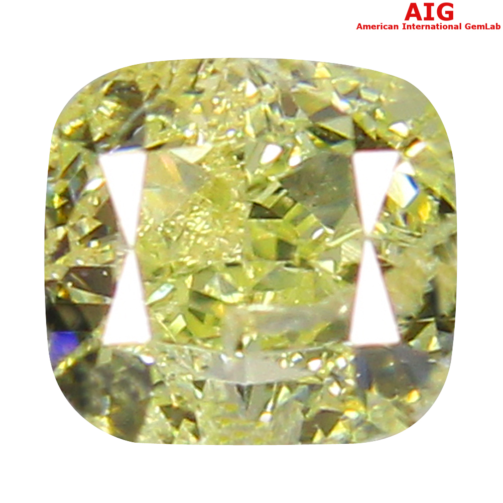 0.45 ct AIG Certified Phenomenal VS1 Clarity Cushion Cut (4 x 4 mm) Fancy Yellow Diamond Stone