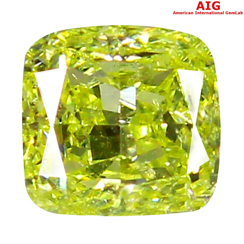 0.27 ct AIG CERTIFIED FLASHING SI2 CLARITY CUSHION CUT (4 X 4 MM) FANCY INTENSE YELLOW DIAMOND STONE