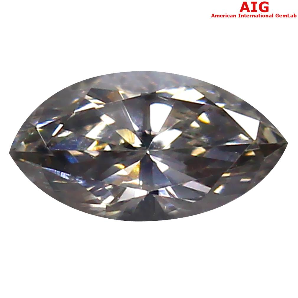 0.24 ct AIG CERTIFIED IMPRESSIVE VVS2 CLARITY MARQUISE CUT (6 X 3 MM) FANCY GRAY DIAMOND STONE