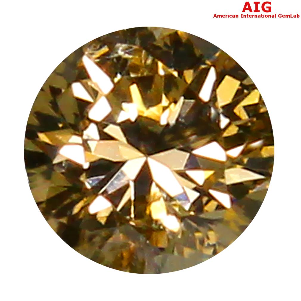 0.17 ct AIG CERTIFIED TOPNOTCH SI2 CLARITY ROUND CUT (3 X 3 MM) FANCY YELLOWISH BROWN DIAMOND STONE
