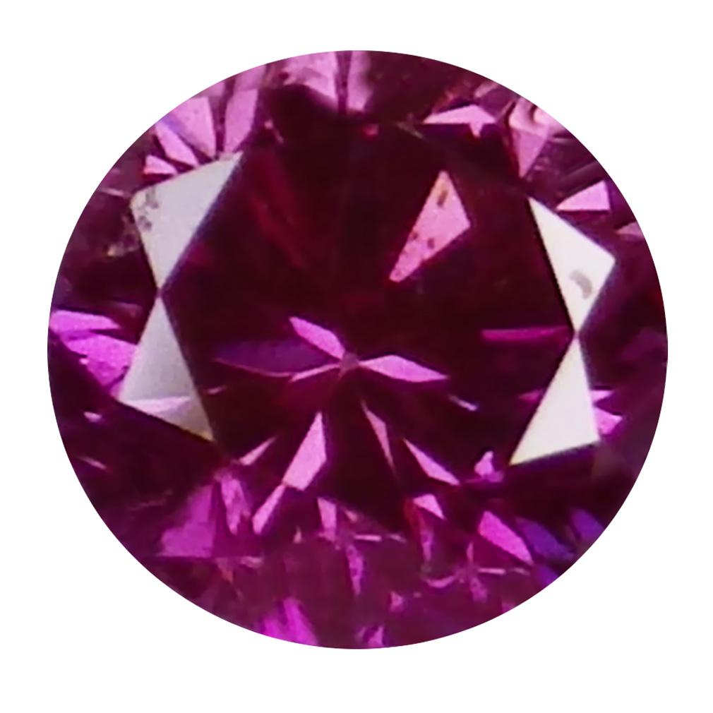 0.06 ct MESMERIZING ROUND CUT (2 X 2 MM) SI CLARITY PURPLISH PINK DIAMOND LOOSE STONE
