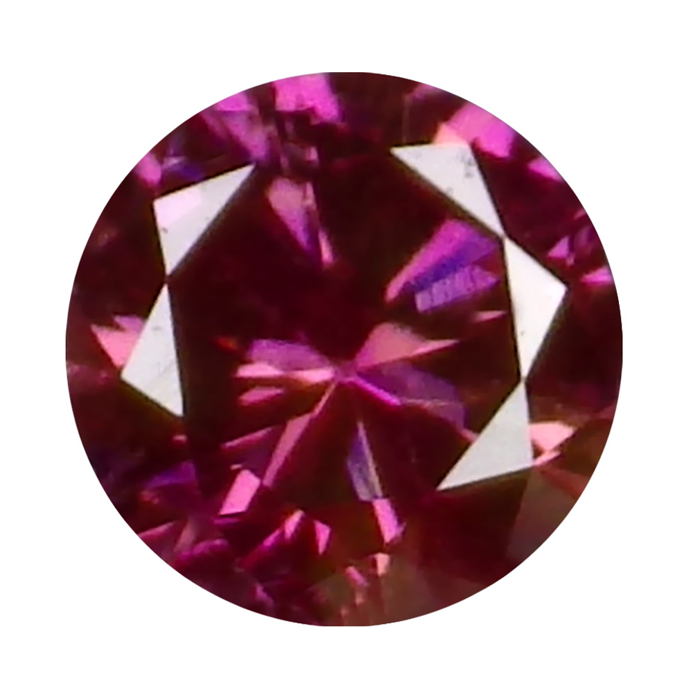 0.06 ct EXQUISITE ROUND CUT (3 X 3 MM) SI CLARITY PURPLISH PINK DIAMOND LOOSE STONE