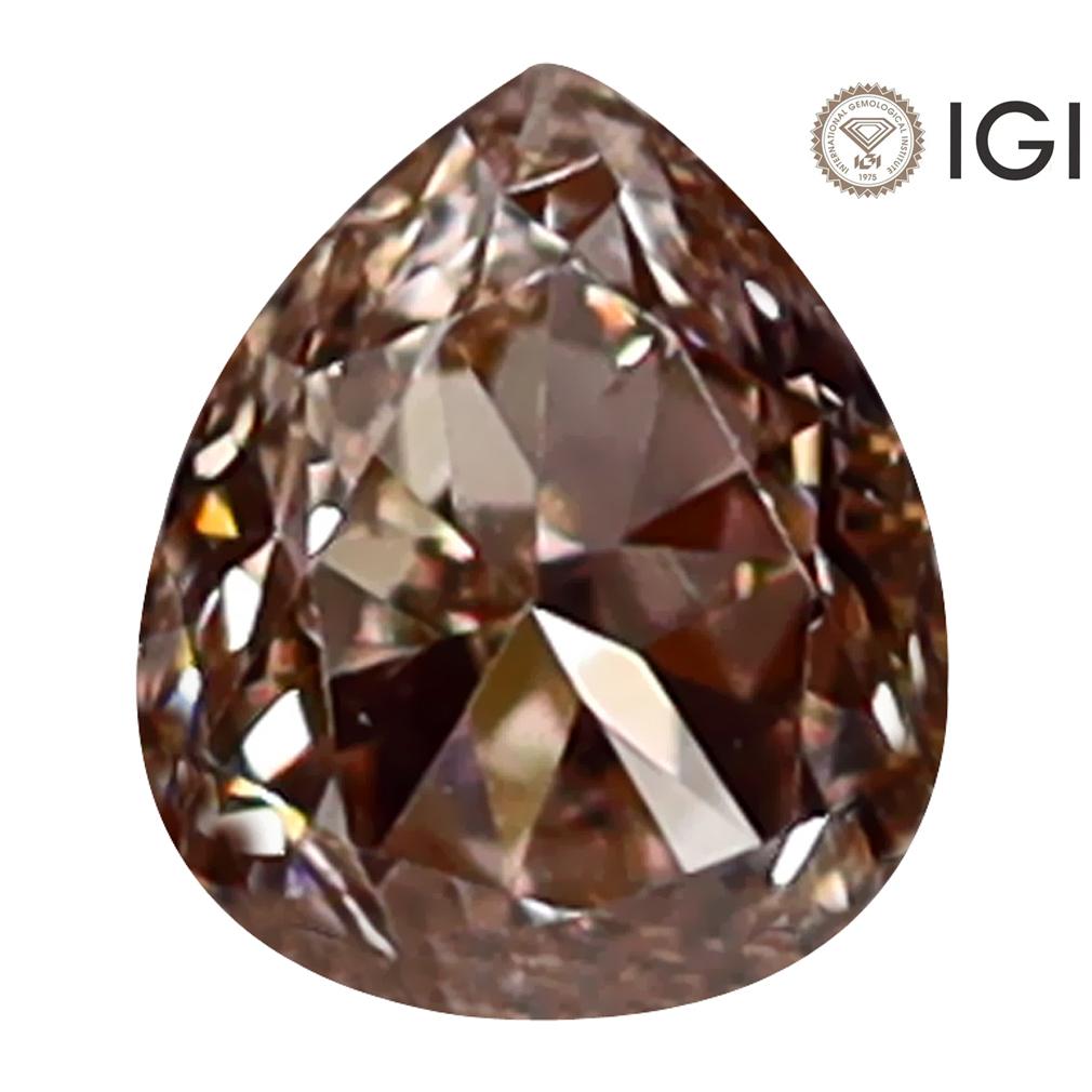 0.21 ct IGI CERTIFIED FANTASTIC PEAR CUT (4 X 3 MM) SI1 CLARITY FANCY BROWNISH YELLOW DIAMOND
