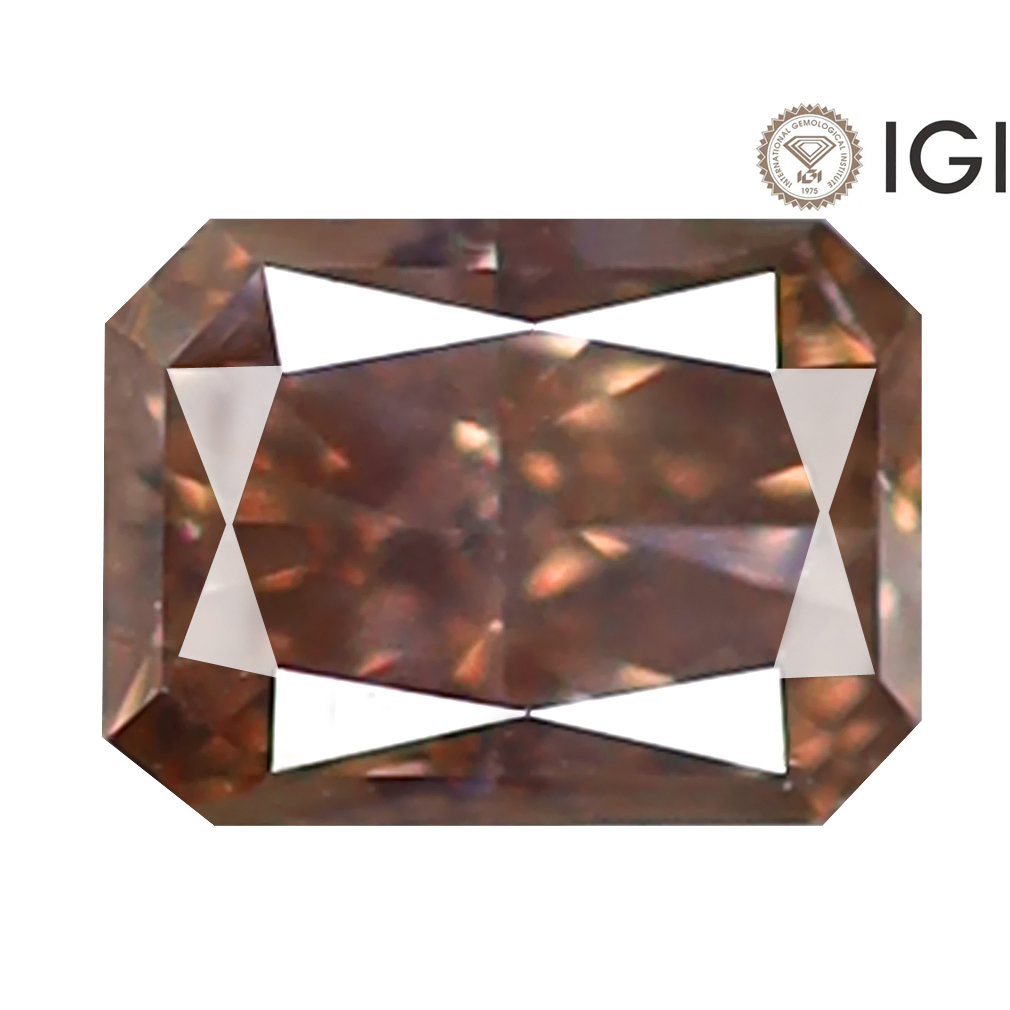 0.35 ct IGI CERTIFIED OUTSTANDING RADIANT CUT (5 X 3 MM) I1 CLARITY FANCY YELLOWISH BROWN DIAMOND