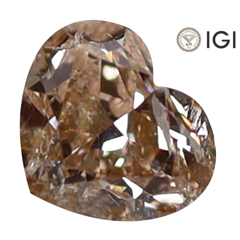 0.40 ct IGI CERTIFIED FIVE-STAR HEART CUT (4 X 5 MM) I2 CLARITY FANCY BROWNISH YELLOW DIAMOND