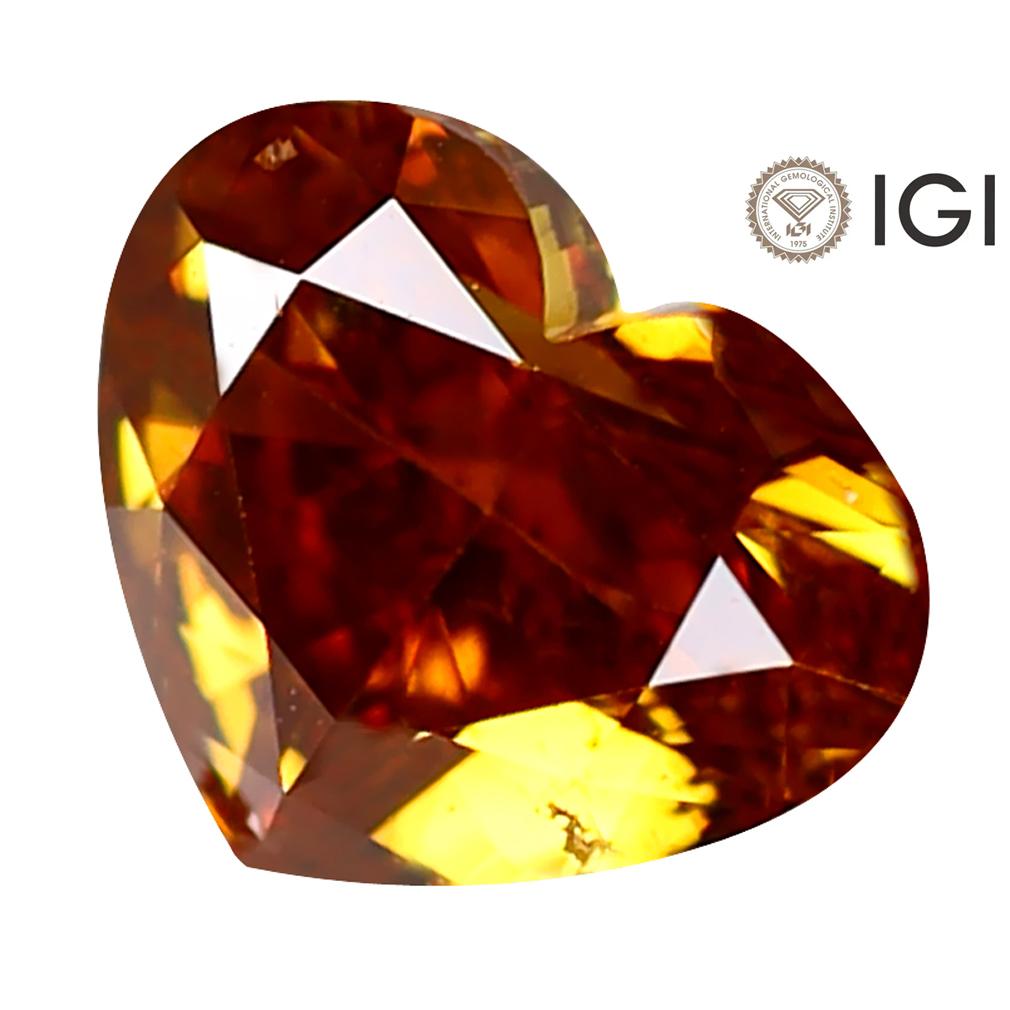 1.01 ct IGI CERTIFIED SPLENDID HEART CUT (5 X 7 MM) I1 CLARITY FANCY YELLOWISH ORANGE DIAMOND