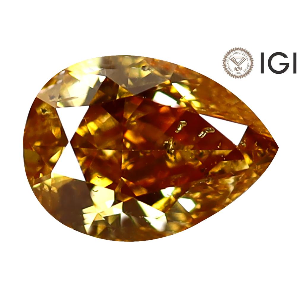 1.01 ct IGI CERTIFIED ROMANTIC PEAR CUT (7 X 5 MM) I1 CLARITY FANCY ORANGE YELLOW DIAMOND