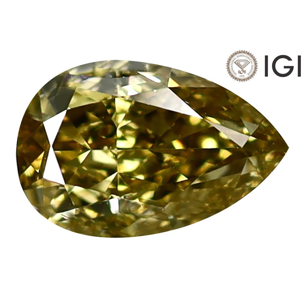 1.01 ct IGI CERTIFIED FIVE-STAR PEAR CUT (8 X 5 MM) VS1 CLARITY FANCY BROWNISH YELLOW DIAMOND