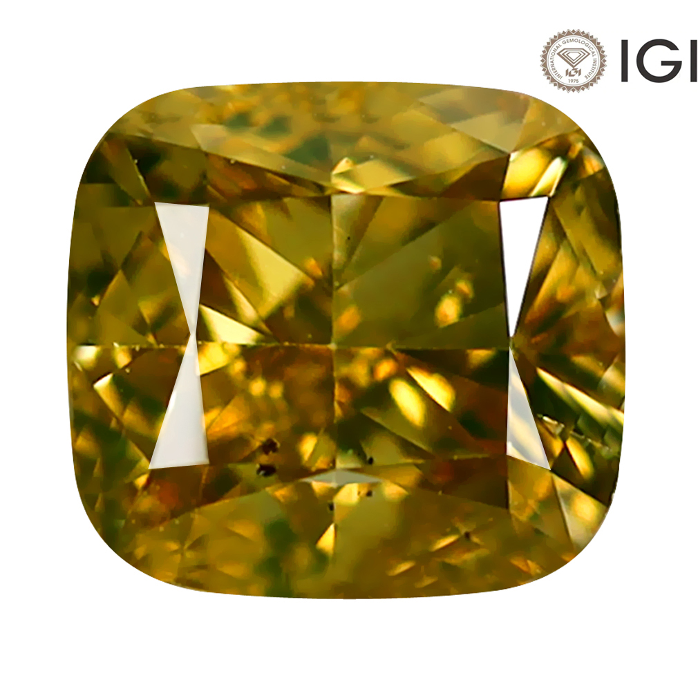 1.50 ct IGI CERTIFIED GORGEOUS CUSHION CUT (6 X 6 MM) SI2 CLARITY FANCY ORANGE YELLOW DIAMOND