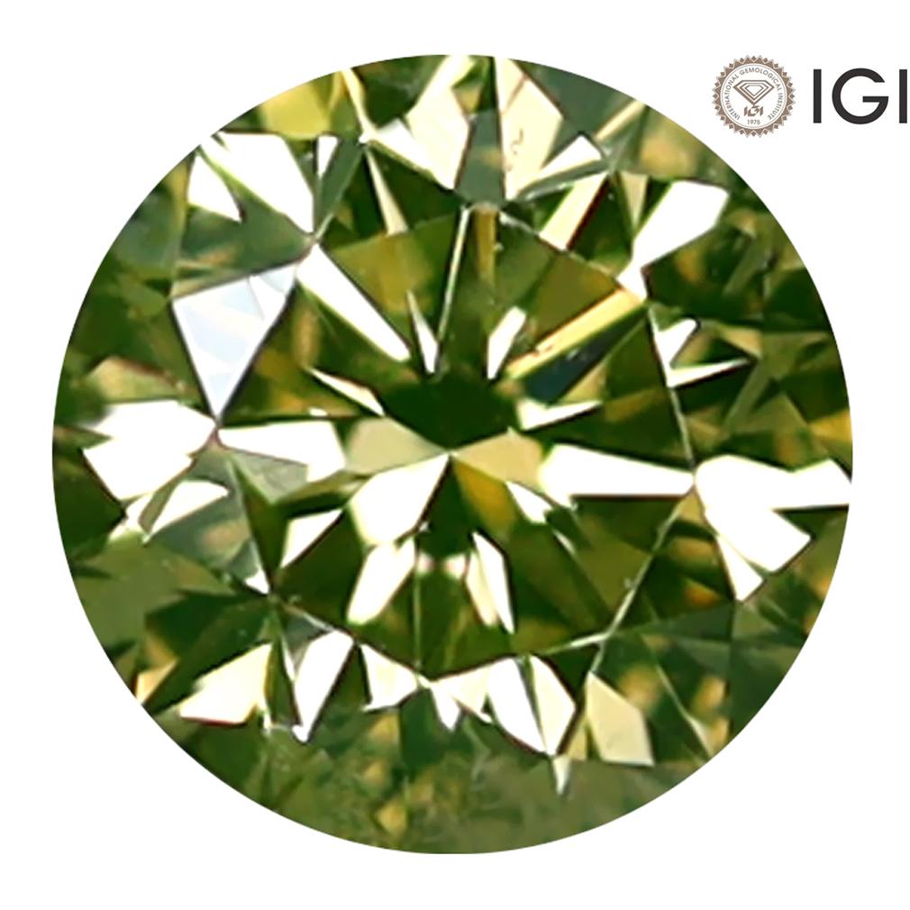 0.31 ct IGI CERTIFIED IMPRESSIVE ROUND CUT (4 X 4 MM) SI1 CLARITY FANCY GREENISH YELLOW DIAMOND