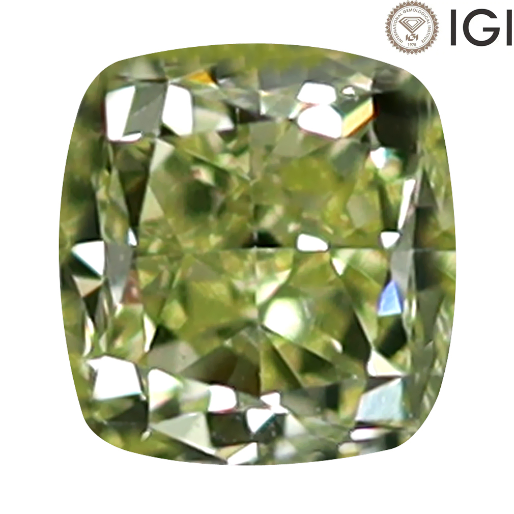 0.37 ct IGI CERTIFIED SHIMMERING CUSHION CUT (4 X 4 MM) VS2 CLARITY FANCY LIGHT YELLOW DIAMOND