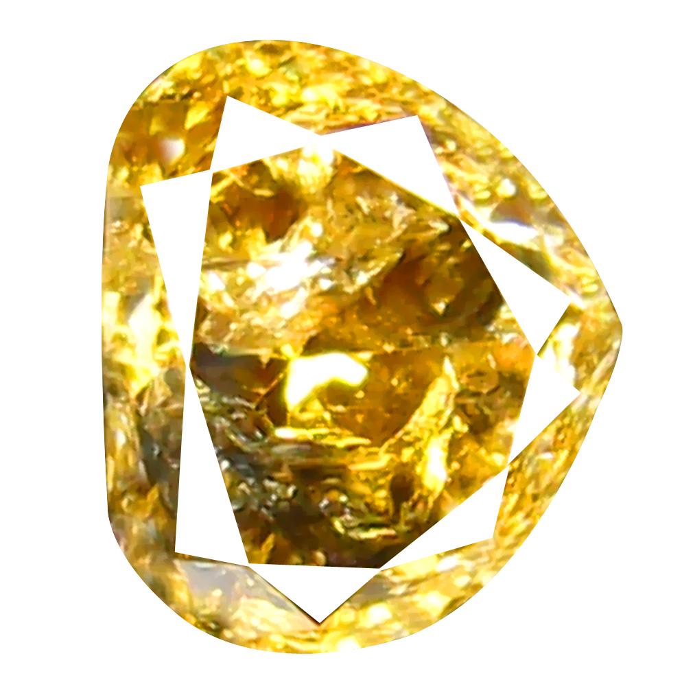 0.34 ct Charming Pear Shape (4 x 5 mm) Fancy Yellowish Brown Diamond Genuine Stone