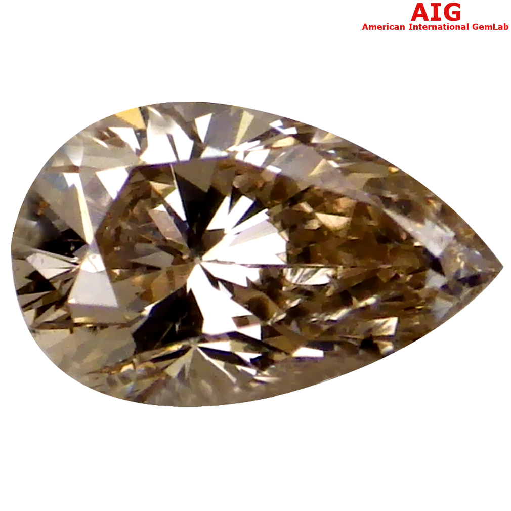 0.27 ct AIG CERTIFIED EXQUISITE SI2 CLARITY PEAR CUT (5 X 3 MM) FANCY BROWNISH YELLOW DIAMOND STONE