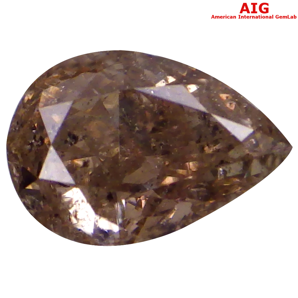 0.52 ct AIG CERTIFIED VERY GOOD I2 CLARITY PEAR CUT (6 X 4 MM) FANCY BROWNISH PINK DIAMOND STONE